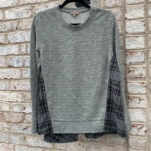 Lilla P Grey Plaid Flannel Split Back Sweater XL